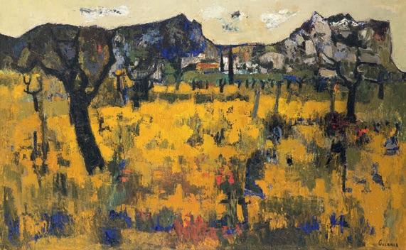 Raymond Guerrier, Les Alpilles, 1960, huile sur toile, 130 x 190 cm, © Musée Estrine, cliché Fabrice Lepletier, ADAGP, Paris, 2020