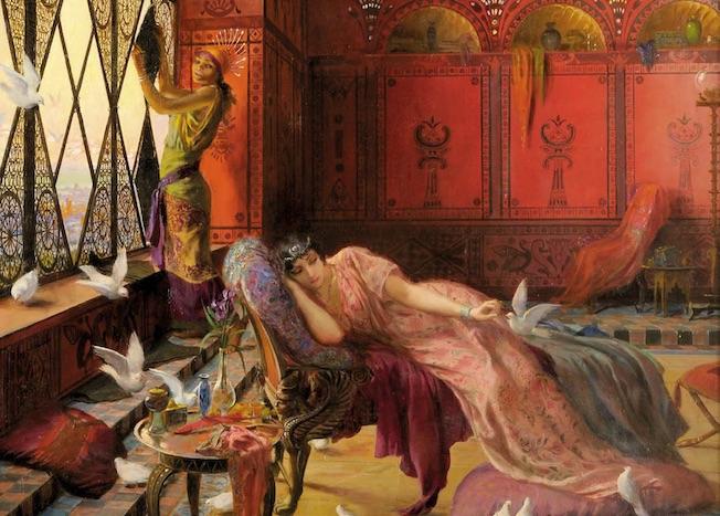 Georges-Antoine Rochegrosse , Salammbô et les colombes, v. 1895 ?. Musée d'Art et d'Histoire de Dreux © F. Lauginie