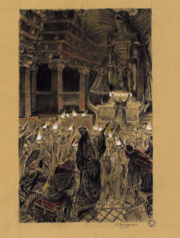 Georges-Antoine Rochegrosse, Salammbô, Hamilcar Barca dans le temple de Moloch, Tome I, p.144. Rouen, bibliothèque Villon