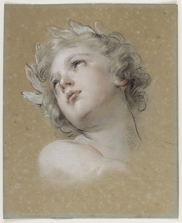 François Lemoyne (1688-1737) Etude de tête pour l'Amour de la Vertu dans l'Apothéose d'Hercule, vers 1733 Pastel, trois crayons et estompe sur papier anciennement bleu © château de Versailles