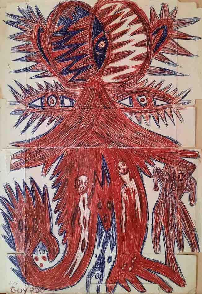 Frantz Jacques dit Guyodo « Sans titre » 2006 Dessin sur carton 58 x 40 cm