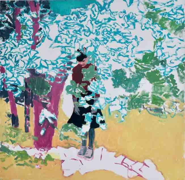 La fille dans les feuilles, 2017 Huile sur toile 1,80 m x 1,80 m