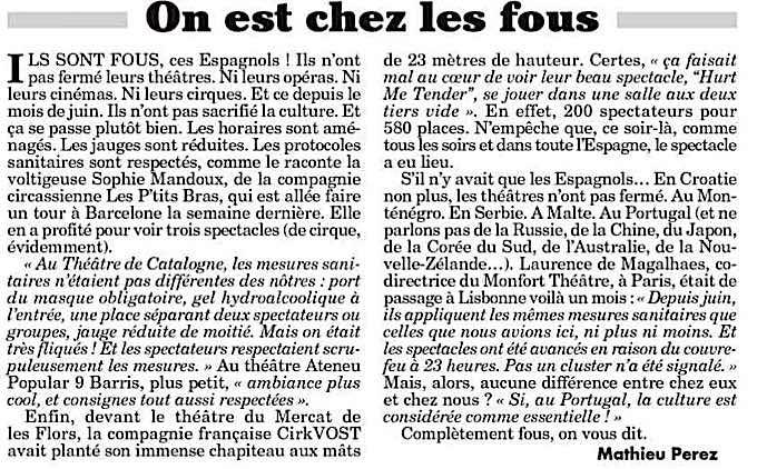 """""""On est chez les fous"""" article de Mathieu Perez du Canard Enchaîné"""