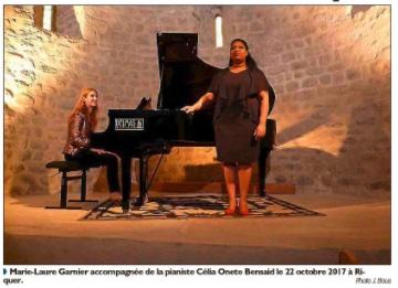 Marie-Laure Garnier, soprano qui s'est produite au Mas Riquer en 2017, remporte la victoire de la révélation artiste lyrique 2021