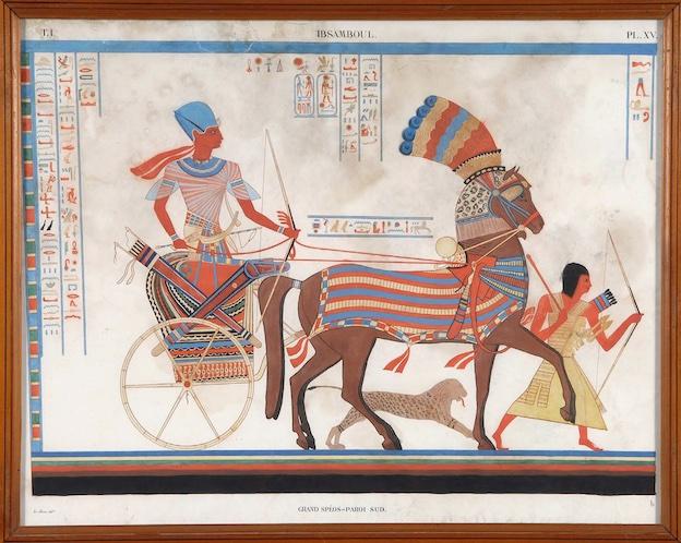 Pierre-François Lehoux, Ramsès II sur son char, début du 19e s., lithographie extraite des Monuments de l'Égypte et de la Nubie. © Département de l'Isère / Musée Champollion