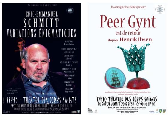 Avignon, festival Off 2021 : Variations énigmatiques d'E-E Schmitt et Peer Gynt est de retour d'après Ibsen. Théâtre des Corps-Saints du 7 au 31 juillet