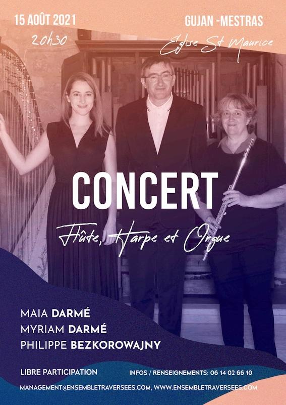 Gujan-Mestras, Gironde : Concert en trio flûte harpe et orgue Ensemble Traversées le 15 août 2021