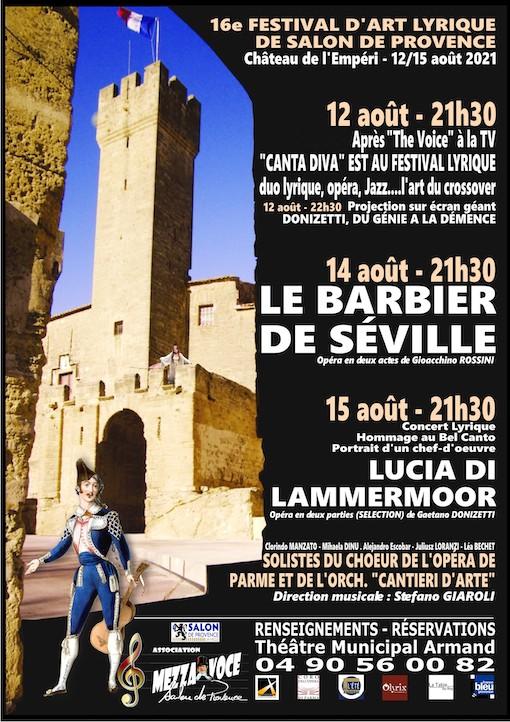 La 16e édition du Festival d'Art Lyrique de Salon-de-Provence promet d'être vibrante et unique ! Les 12, 14 et 15 août 2021