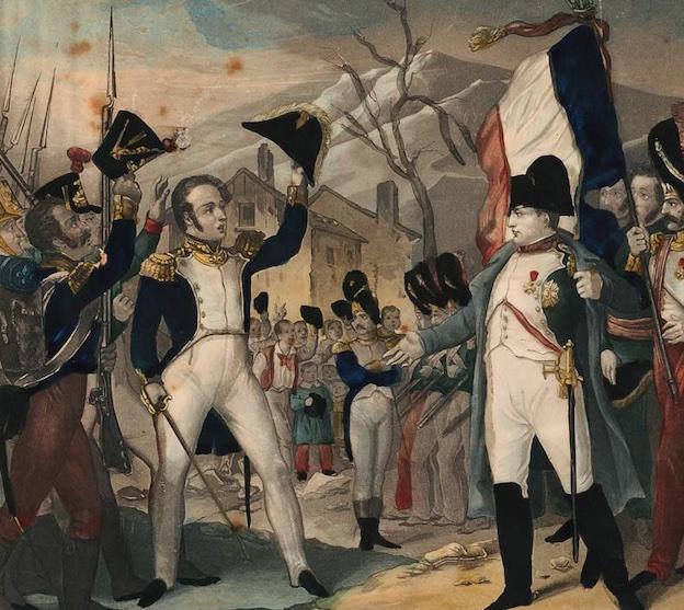 Napoléon face au général Cambronne. Estampe, 27 x 22 cm. Collection Musée dauphinois