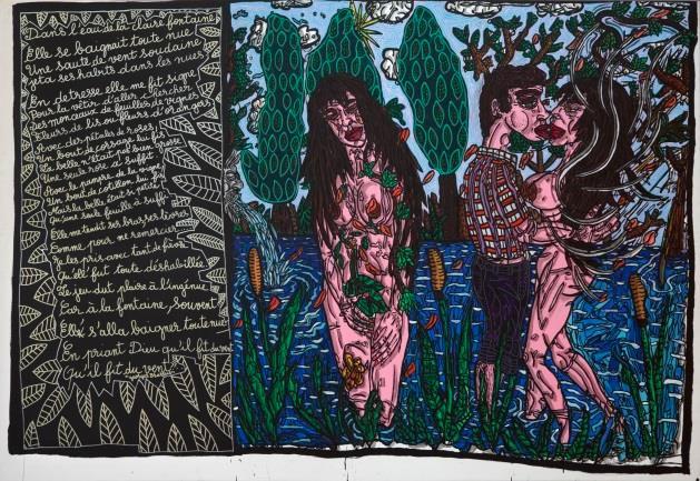 Robert Combas  Dans l'eau de la claire fontaine, 1992  Acrylique sur toile,  Dim. 214 × 302 cm  Collection musée Paul Valéry, Sète  ADAGP 2021