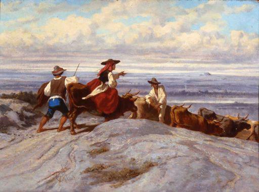Emile Loubon Le retour du marché aux bestiaux, 1851 Huile sur toile, 65,5 x 100 cm Collection Fondation Regards de Provence