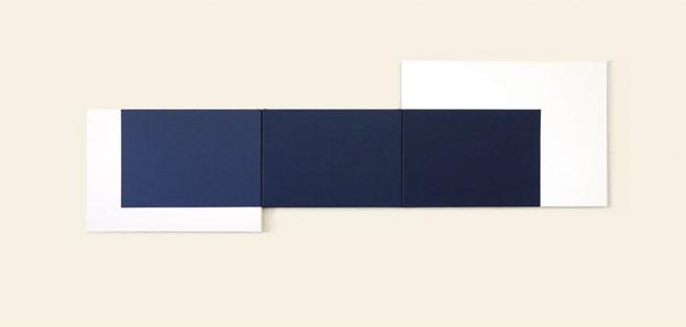 Georges Ayats. Triptyque bleu, 2013. Acrylique et pigments sur toile, 70 x 150 cm