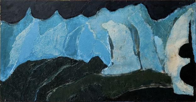 Xavier Oriach. Les Fantômes Gascons, 2004. Acrilyque sur bois, 75 x 150 cm.