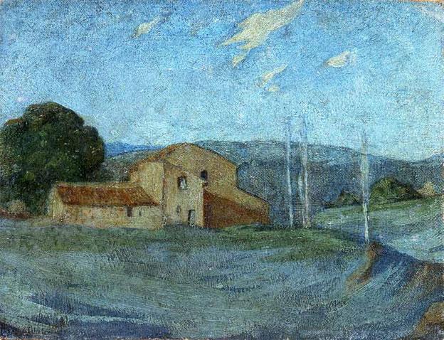 Paysage de la campagne d'Aix, Huile sur toile marouflée sur carton, 16 x 21 cm, Musée Granet, Aix-en-Provence
