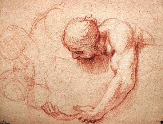 Charles Le Brun (1619-1690) Étude d'homme portant une figure Sanguine avec des rehauts de craie blanche, 286 x 218 mm.