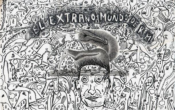 """Ricardo Mosner: """"EL Extraño Mundo de R.M."""", 2014, technique mixte/gravure de Buffon, 21,5x13,5 cm"""