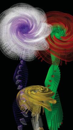 Miguel Chevalier, 2009, Lilus Arythmeticus dit d'Euclide Graine virtuelle de la série « Fractal Flowers » © Adagp, Paris, 2014