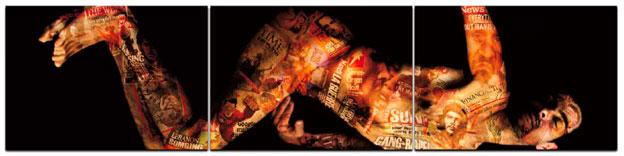 Hayat, Déposition (Le poids des mots, le choc des photos) / triptyque 375 x 90 cm / Tirage argentique collé sur dibond / Ed. de 6  / © Hayat 2014