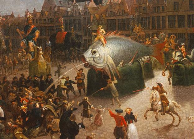 Erasmus de Bie (Anvers, 1629-1675), Procession de chars sur la place du Meir. Anvers (détail) 1670. Huile sur toile, 89 x 120 cm. Musée départemental de Flandre, Cassel ©  Jacques Quecq d'Henripret