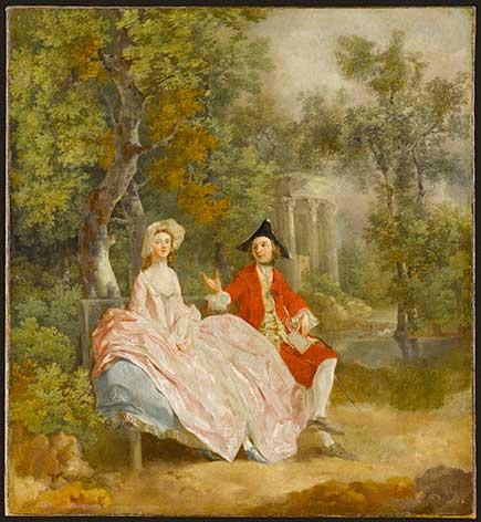 Conversation dans un parc (probablement Gainsborough et sa femme) Gainsborough Thomas (1727-1788). Paris, musée du Louvre