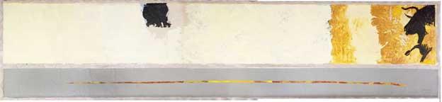 Gérard Gasiorowski, Hommage à Manet, 1983. Acrylique sur toile, 50 x 1000cm (sujet), 150 x 1000cm (fond). Collection Fondation Maeght, Don Adrien Maeght.  Photo Claude Germain © Archives Fondation Maeght.