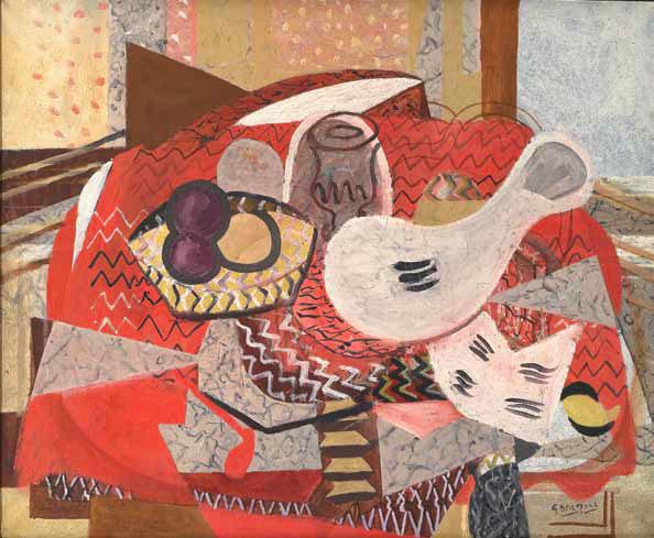 Nature morte à la nappe rouge, 1934. Huile sur toile, 81 x 101 cm. Collection particulière. Georges Braque © VEGAP, Bilbao, 2014. Photo © Leiris SAS Paris