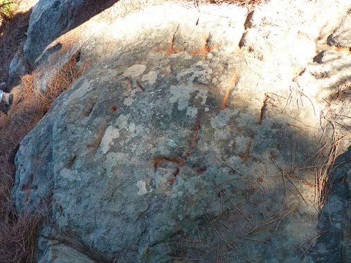 Ardèche, Ailhon. Circuit « Gravure rupestre de Daüs ». Circuit voiture et pédestre jusqu'au site de gravure et d'empreintes de dinosaures.