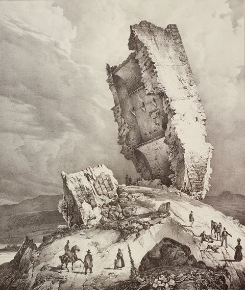 Pharamond Blanchard (1805-1873), La Tour penchée de Soyons © Paris, Fondation Taylor-Th. Hennocque