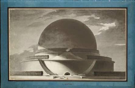 Étienne-Louis Boullée  (1728 – 1799) Projet de Cénotaphe de Newton (élévation perspective, vue de nuit), 1784  Crayon noir, lavis gris ; trait d'encadrement à l'encre brune 394 x 645 mm