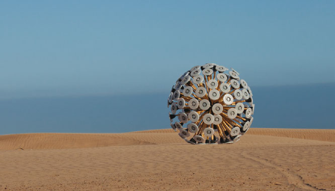Mine Kafon. A silent picture of Mine Kafon in desert. Massoud Hassani, 2011© Hassani Design BV