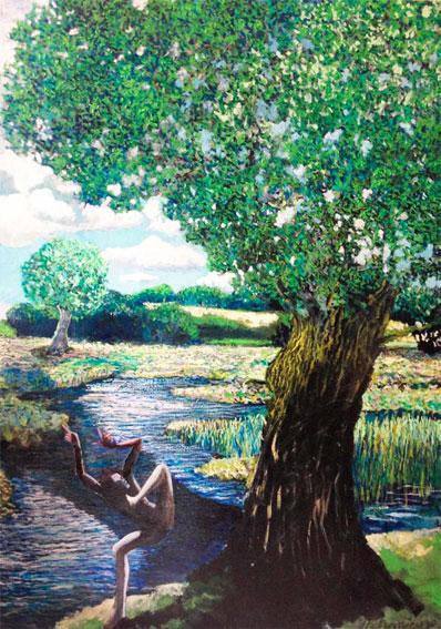 Laurent Betremieux, Sans titre, huile sur toile, 2013, 150 x 60 cm