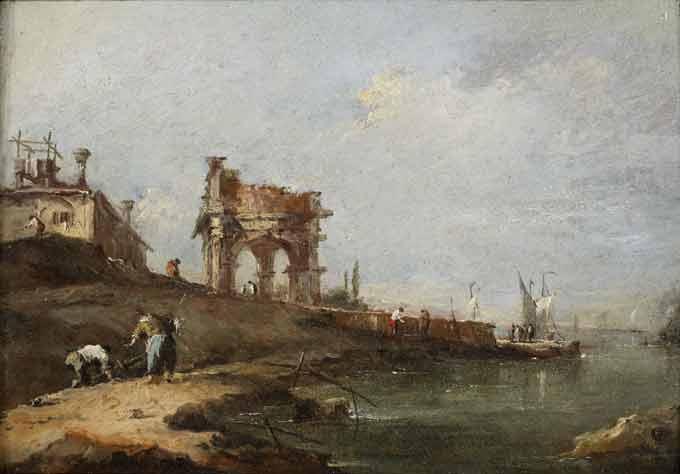 Charles Beddington Ltd. Francesco Guardi (1712-Venice-1792) A Capriccio of a ruined Classical Portico and a Villa by the Venetian Lagoon