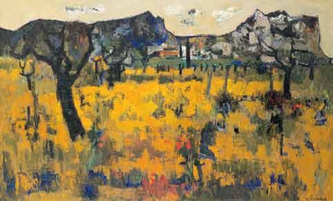 Raymond Guerrier, Alpilles , c.1955 Huile sur toile, 162 x 260 cm Musée Estrine © cliché Fabrice Lepeltier