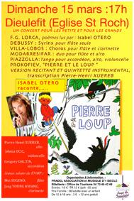 Pierre et le loup, Sergei Prokifiev Quintette et récitant Isabel Otéro. Eglise St Roch, Dieulefit, le 15 Mars 2015