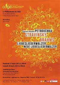 Concert illustré Stravinsky-Brahms par les Chœurs et Orchestres des Grandes Ecoles, les 27 et 28 mars 2015 à l'université Paris Descartes