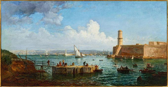 Raphaël Ponson, Pêcheurs à l'entrée du Vieux-Port, huile sur toile 93 x 179 cm @ Aleksander Rabczuk