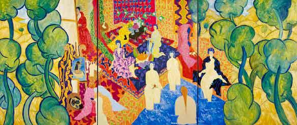 Marco Del Re, Ah ce chemin qu'on a fait depuis les primitifs, 2014. Huile sur toile. 205 x 480 (205 x 160 x 3) cm. © Galerie Maeght, Paris.