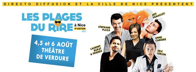 Festival les Plages du Rire, du 3 au 6 Aout 2015 au Théâtre de Verdure de Nice