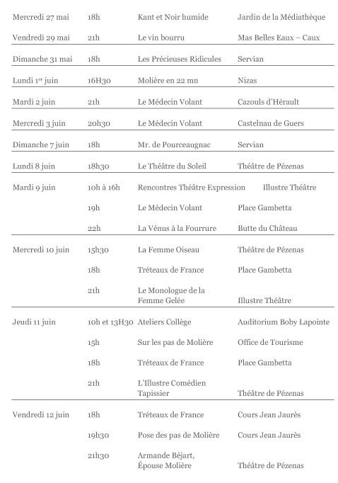 7ème Festival Molière, le théâtre dans tous ses éclats 2015, à Pézenas du 8 au 14 juin