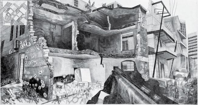 Marc Bauer, Call of Duty I, 2011, dessin, crayon gris sur papier, 71 x 101 cm, courtesy de l'artiste et Freymond-Guth Fine Arts, Zurich