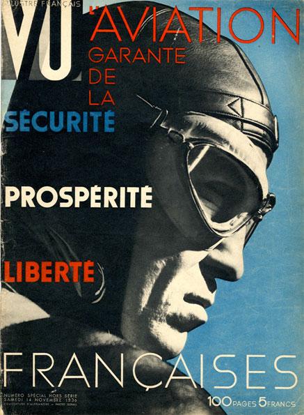 Virtuosité de la mise en page : Vu, 14 novembre 1936, numéro spécial hors-série, célébrant « L'Aviation, garantie de la sécurité, prospérité, liberté », par une mise en page oblique, en « drapeau » des photographies.