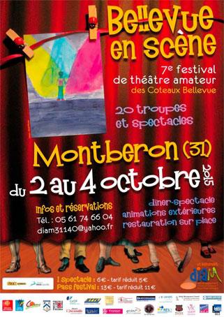 Le Festival Bellevue en scène met le théâtre amateur à l'honneur pour la 7e édition à Montberon (Haute-Garonne) du  2 au 4 octobre 2015