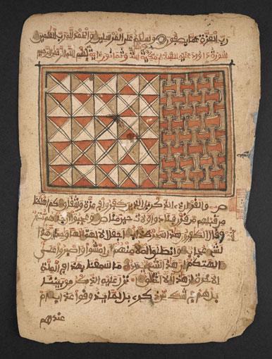A page from a saddlebag Qur'an going on display in West Africa exhibition 2015. Photograph courtesy of the British Library