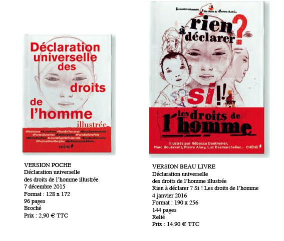 Déclaration universelle des droits de l'hommeillustrée, ÉditionsduChêne, parution le 7 décembre 2015