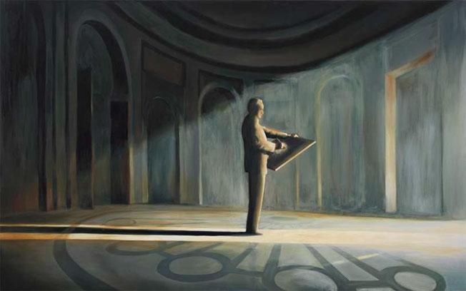 Géométrie descriptive, 2004 huile sur toile, 110 x 178 cm