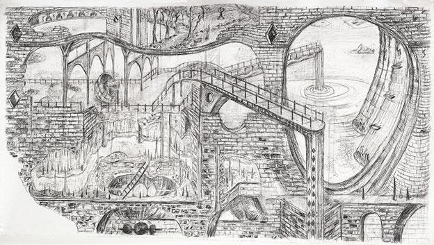 Daniel Flammer, Au carrefour des vents, 2015, pierre noire, fusain et graphite sur papier, 114 x 210 cm, courtesy Galerie Polad-Hardouin