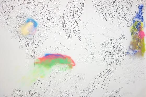 Pebayuran, 2015-2016, dessin mural, fusain & peinture spray, dimensions variables