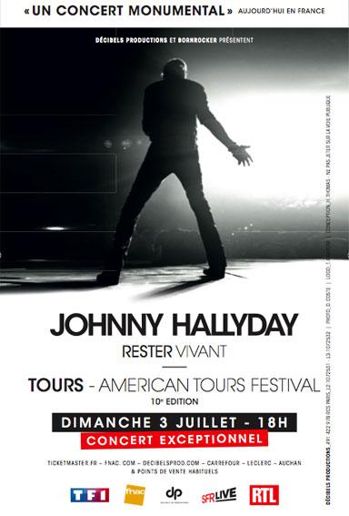 Johnny Hallyday à l'affiche de l'American Tours Festival pour la 10e édition du 1er au 3 Juillet à Tours