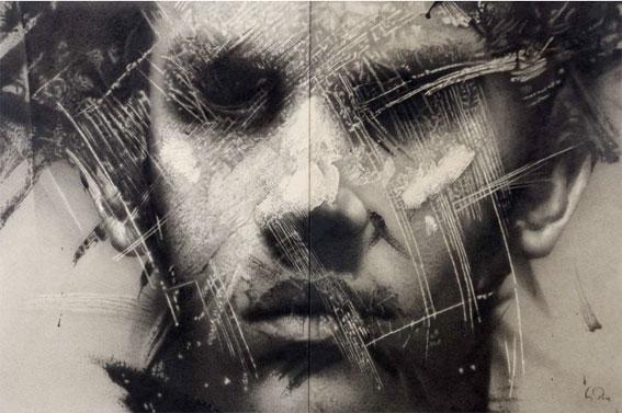 Manuel Boix, Visage qui commence, 2000 Fusain sur toile, 200 x 300 cm