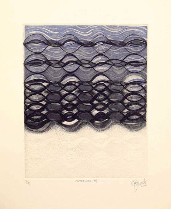 Extrait du triptyque Entrelacs, Entrelacs (H)-Hiver Ex 1/10 2016 Burin, eau-forte et aquatinte Imprimée sur Lana gravure 300 gr 39x33 cm